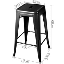 Load image into Gallery viewer, Artiss Set of 4 Metal Backless Bar Stools - Glossy Black
