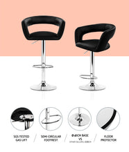Load image into Gallery viewer, Artiss 2x Gas Lift Bar Stools Swivel Chairs Leather Chrome Black