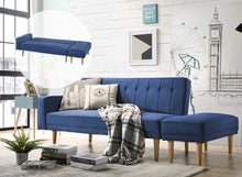 Load image into Gallery viewer, 3 Seater Fabric Sofa Bed with Ottoman - Blue