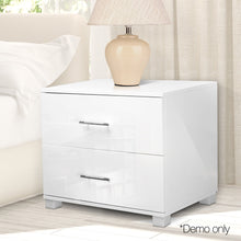 Load image into Gallery viewer, Artiss High Gloss Two Drawers Bedside Table - White