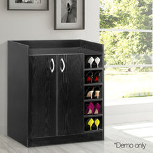 Load image into Gallery viewer, Artiss 2 Doors Shoe Cabinet Storage Cupboard - Black