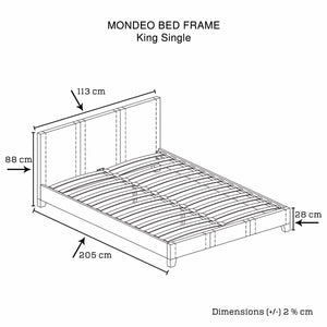 Mondeo PU Leather King Single Black Bed