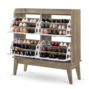 Large Shoe Cabinet Rack Oak