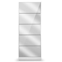 Load image into Gallery viewer, Artiss 5 Drawer Mirrored Wooden Shoe Cabinet - White