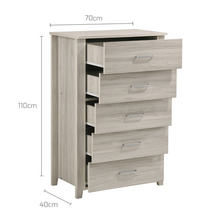 Load image into Gallery viewer, 5 Chest Of Drawers Tallboy In White Oak