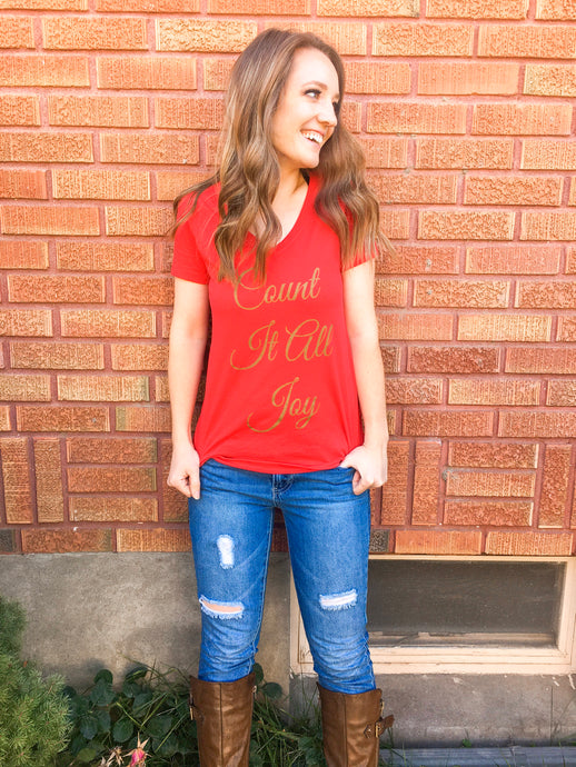 Count It All Joy V Neck Tee