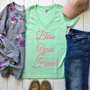 Bless Your Heart V Neck Tee