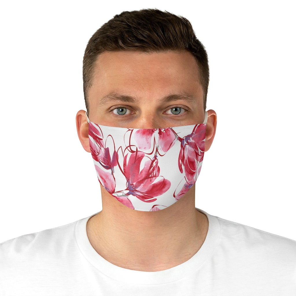 Fabric Face Mask Reusable Washable - Custom Designed - Botanical Pink Watercolor