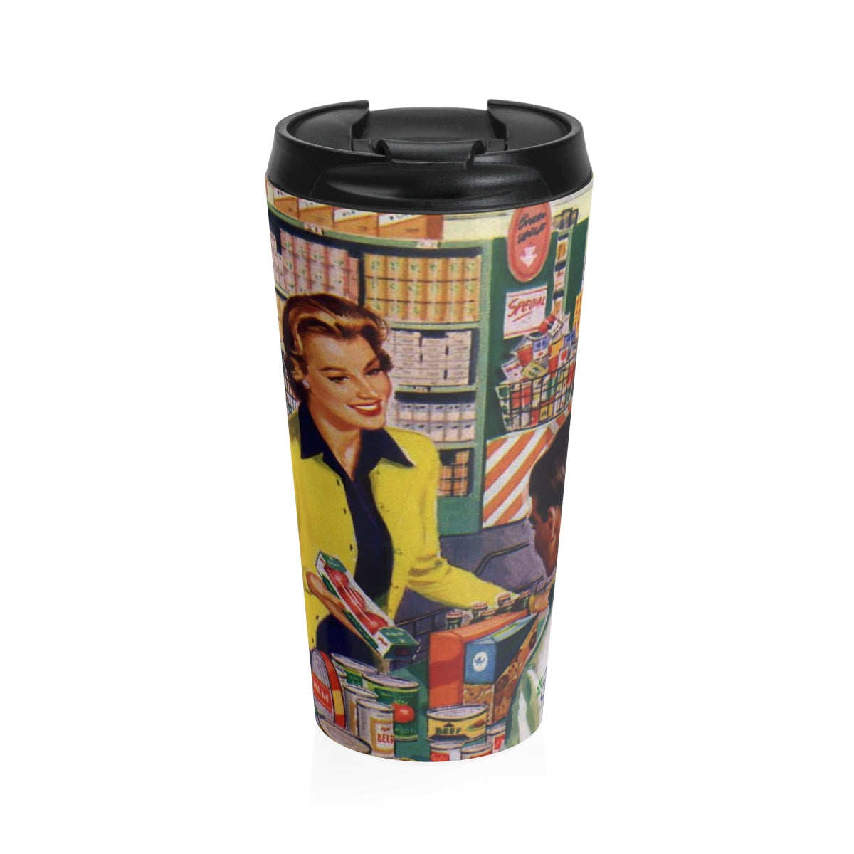 Stainless Steel Travel Mug - Retro Woman Series - Shopping