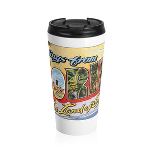 Stainless Steel Travel Mug - Retro Postcard Series - Florida