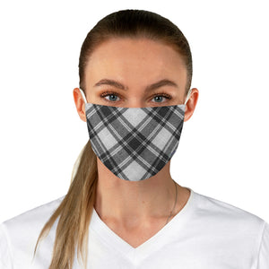 Fabric Face Mask Reusable Washable - Custom Designed - Plaid in Black/White