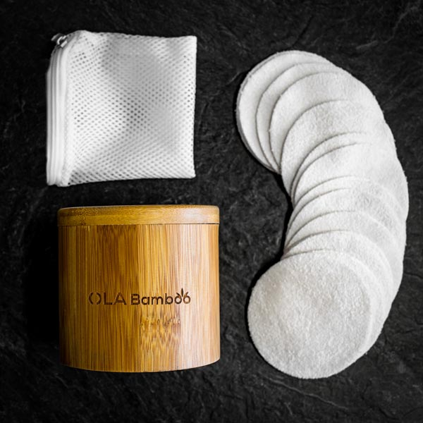 Starter Kit - Reusable Makeup Pads, Container and Wash Bag by OLA Bamboo