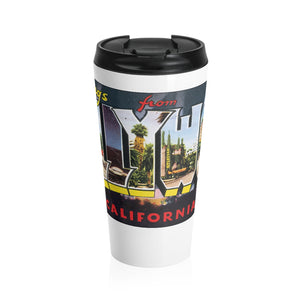 Stainless Steel Travel Mug - Retro Postcard Series - Hollywood CA
