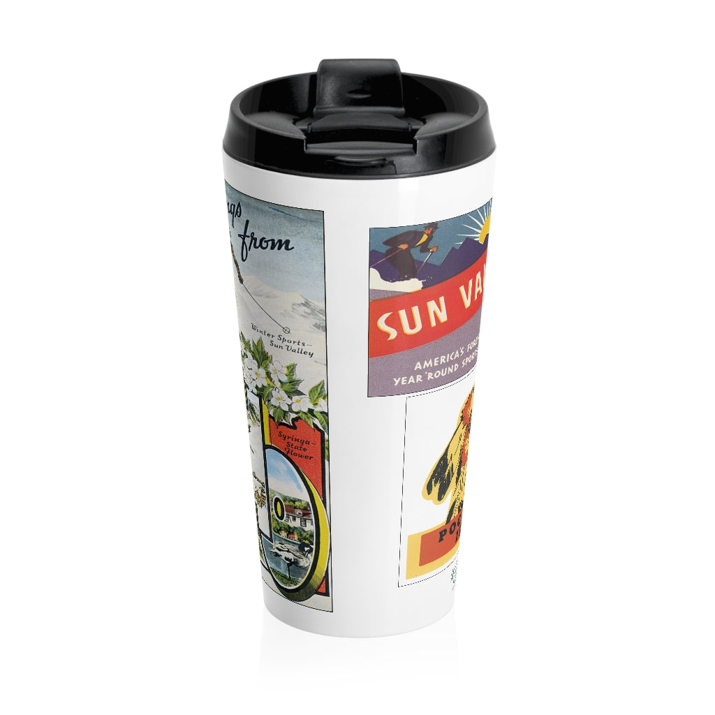 Stainless Steel Travel Mug - Retro Postcard Series - Idaho Images