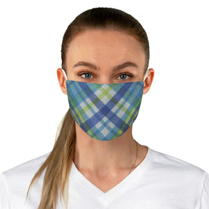 Fabric Face Mask Reusable Washable - Custom Designed - Plaid in Blue/Yellow