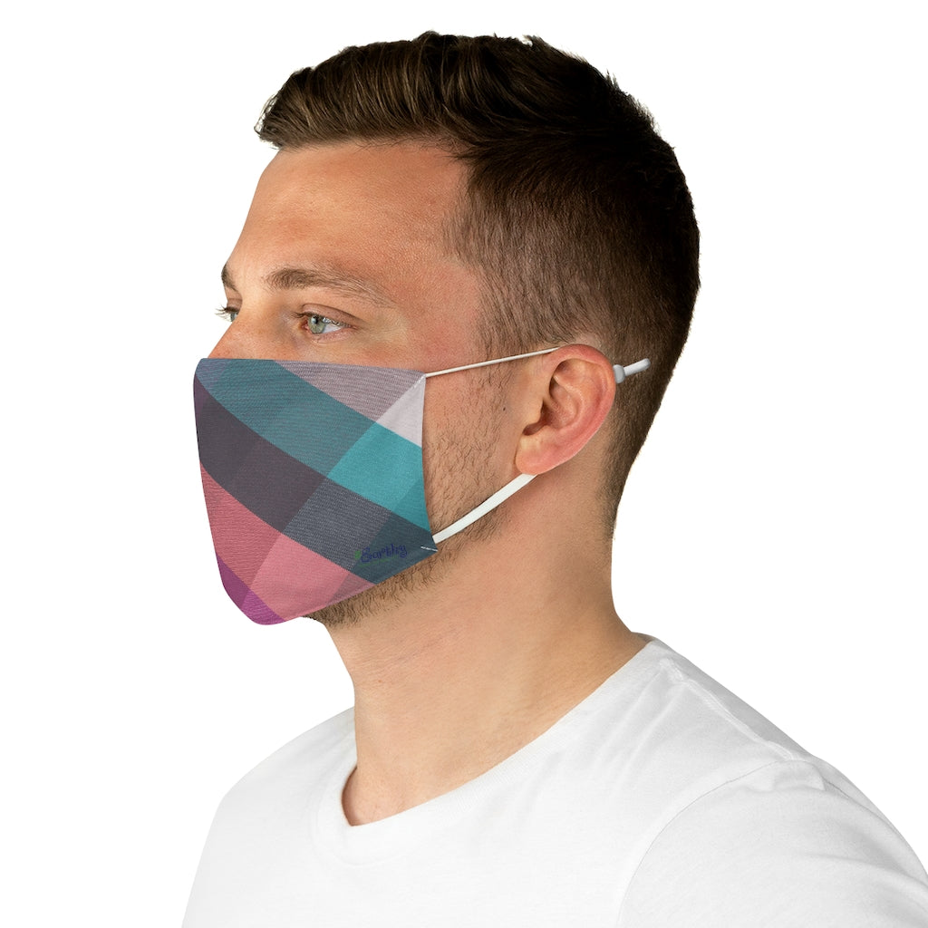 Fabric Face Mask Reusable Washable - Custom Designed - Plaid in Pastels