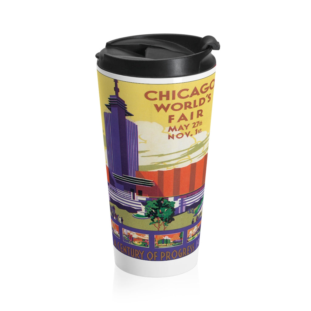 Stainless Steel Travel Mug - Retro Postcard Series - Chicago Worlds Fair Collage