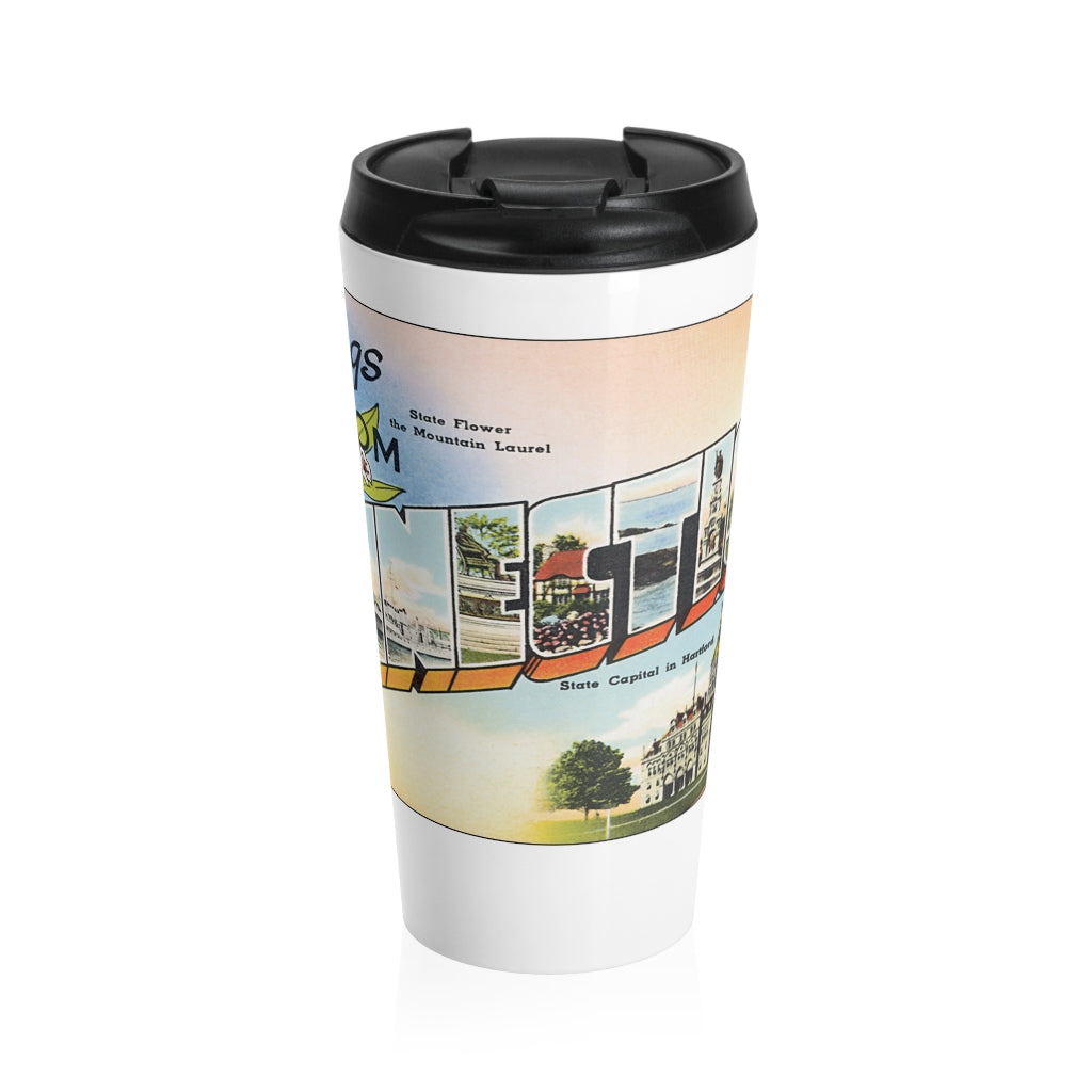 Stainless Steel Travel Mug - Retro Postcard Series - Connecticut