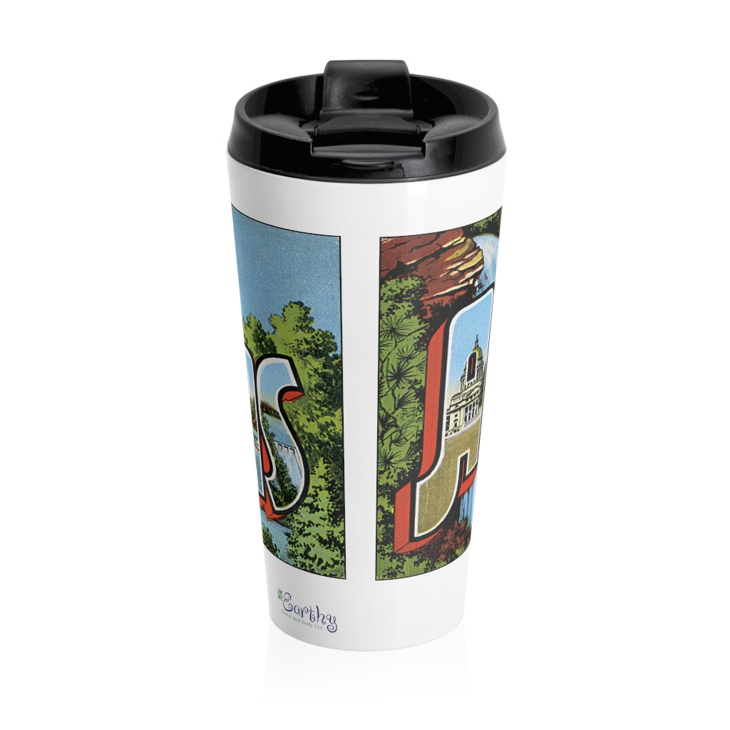 Stainless Steel Travel Mug - Retro Postcard Series - Arkansas