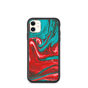 iPhone Biodegradable phone case - Marbled Ink in Christmas Blend