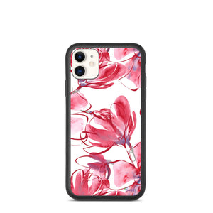 iPhone Biodegradable phone case - Botanical Pink Watercolor
