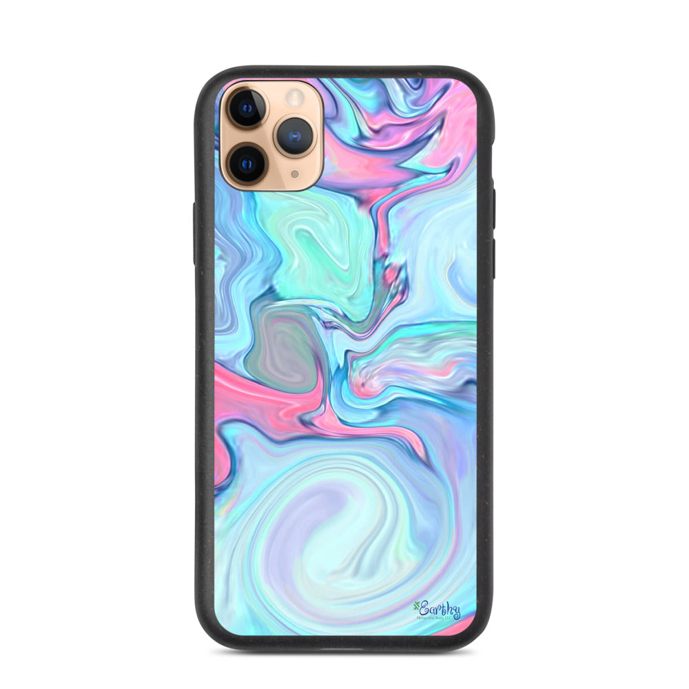 iPhone Biodegradable phone case - Marbled Ink in Cotton Candy