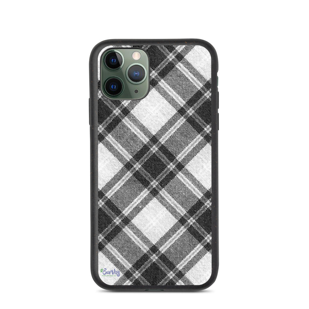 iPhone Biodegradable phone case - Plaid in Black/White
