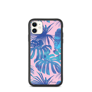 iPhone Biodegradable phone case - Botanical Blue Palms