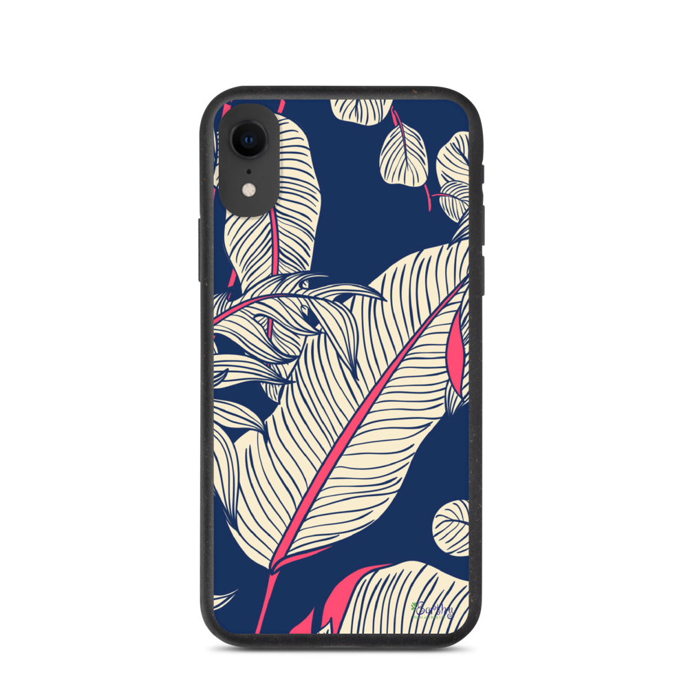 iPhone Biodegradable phone case - Botanical Hot Pink Leaf