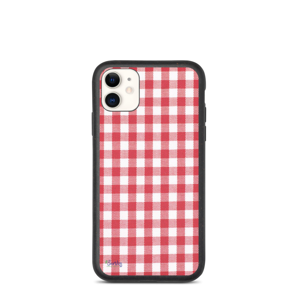 iPhone Biodegradable phone case - Plaid in Red Checker