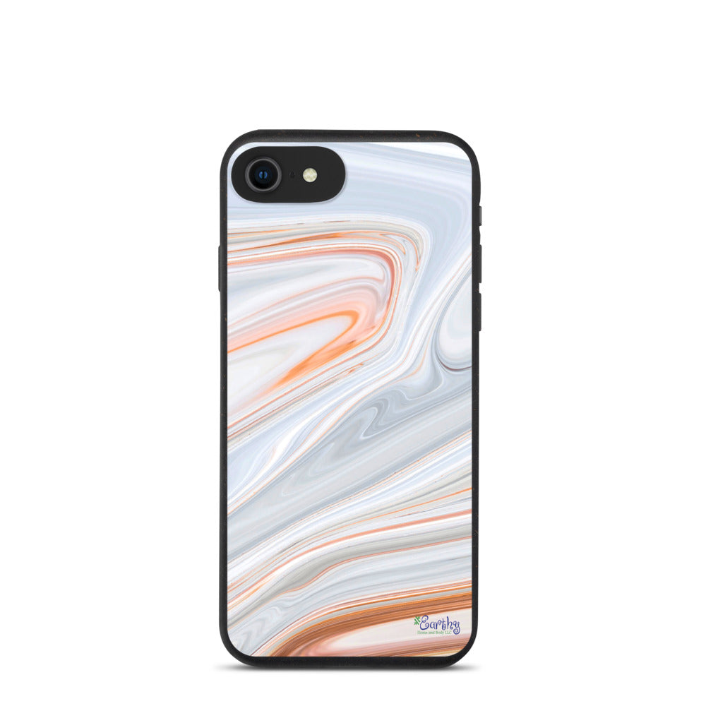 iPhone Biodegradable phone case - Marbled Ink in Orange Cream