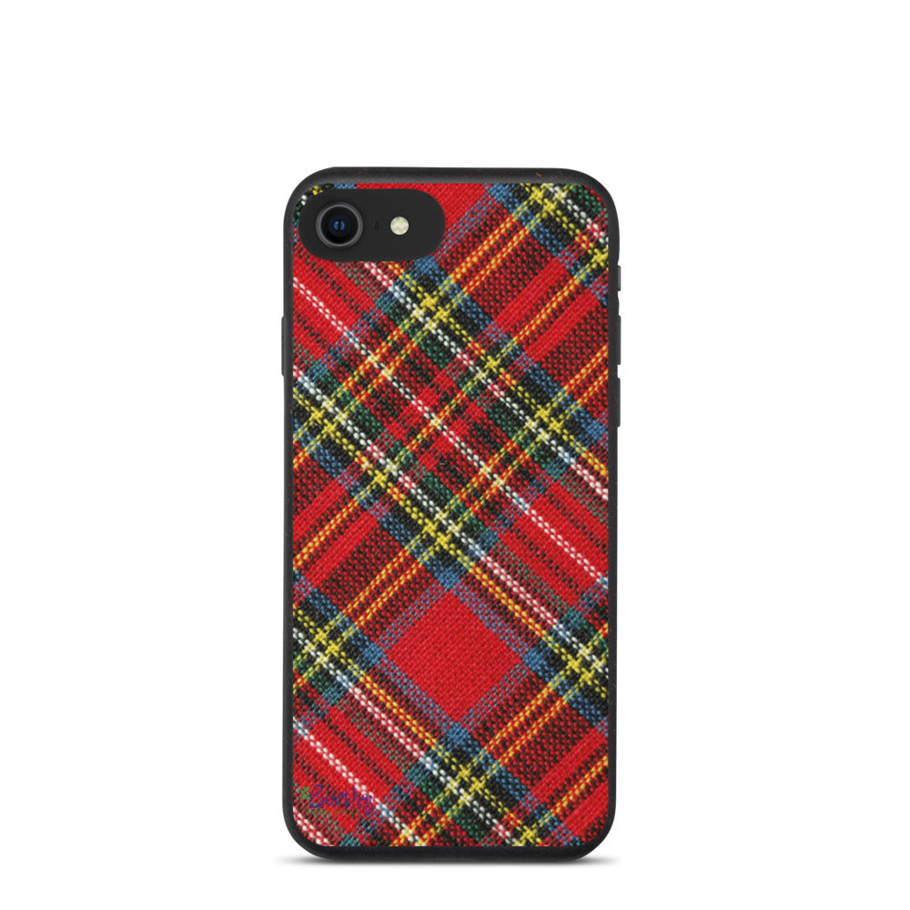 iPhone Biodegradable phone case - Plaid in Red/Yellow