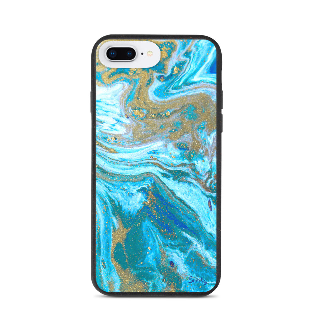 iPhone Biodegradable phone case - Marbled Ink in Sandy Shore