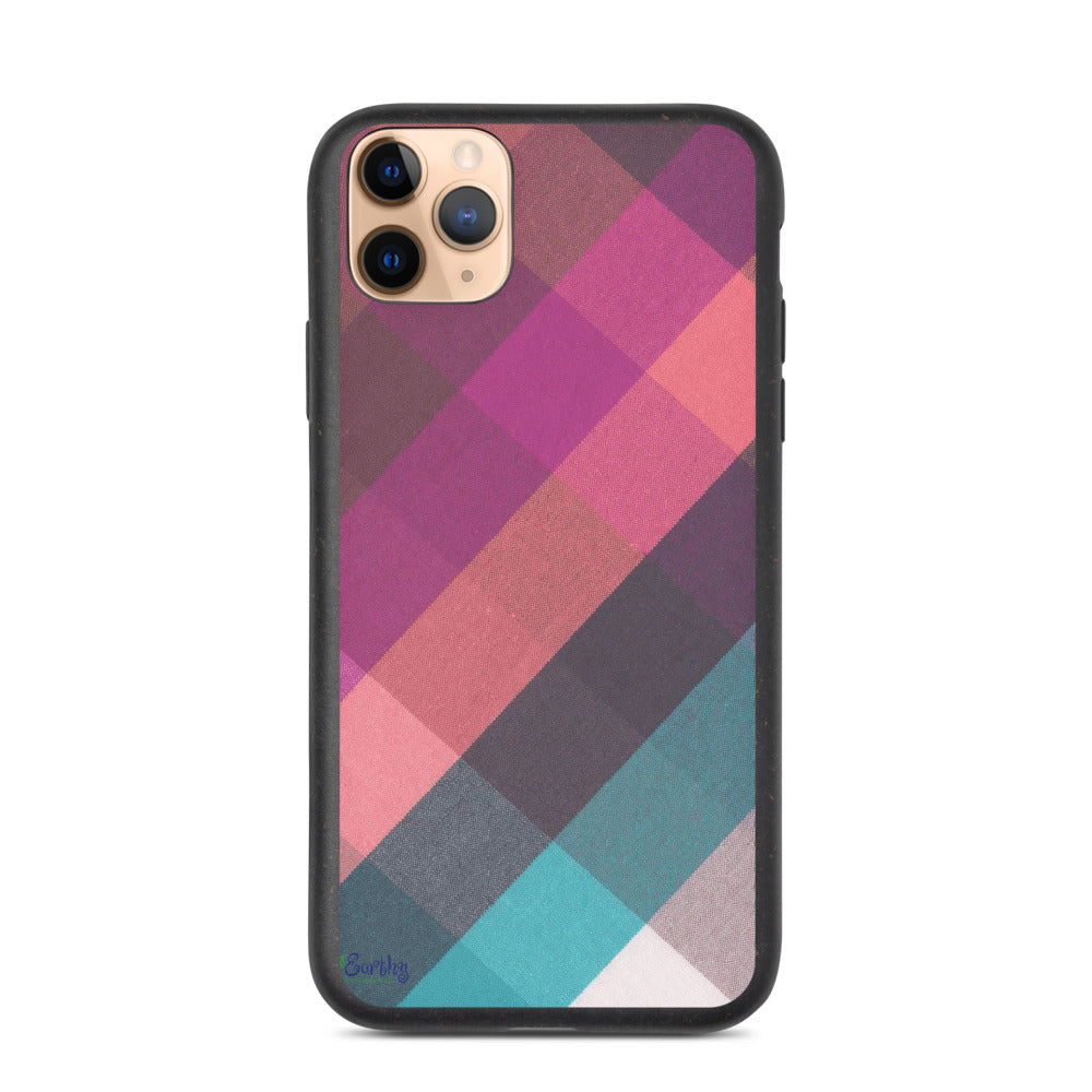 iPhone Biodegradable phone case - Plaid in Pastels