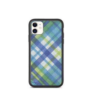 iPhone Biodegradable phone case - Plaid in Blue/Yellow