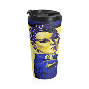 Stainless Steel Travel Mug - Retro Woman Series - Rosie Strong