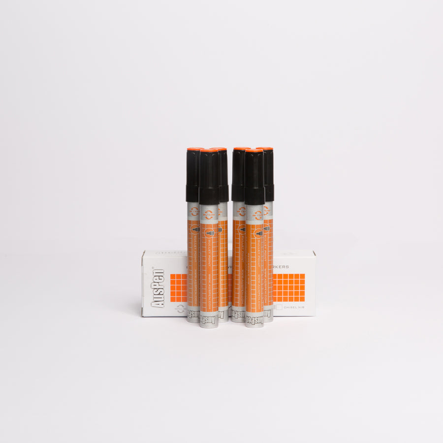 6 Orange Refillable Whiteboard Markers