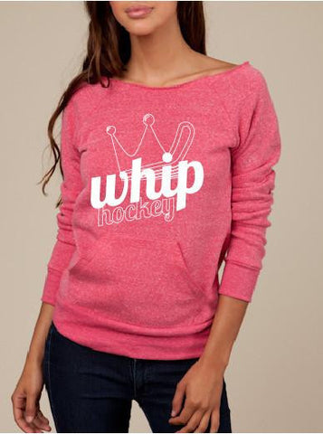 Pink Sweater Whip / Crown Off Shoulder Sweatshirt