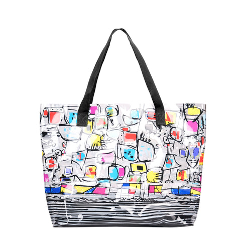 "Fun pattern Tote by Dolcezza. The bag is durable and has canvas handles. Perfect for the beach. 100%  PVC  13""H x  18""W  X 5 "" D"