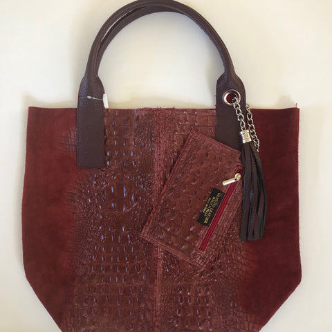 Italian Leather Embossed Tote