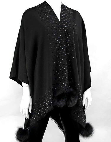 Black Woven Poncho with Black Diamond Beaded Border