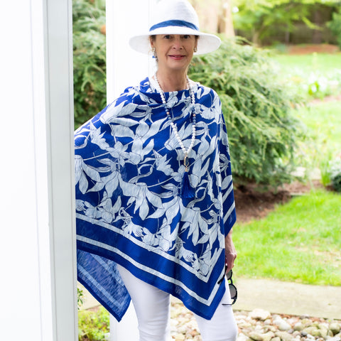 twobsaccessories whimsy rose Floral Navy Poncho By Whimsy Rose