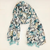 Seafoam Jungle Scarf with tassels