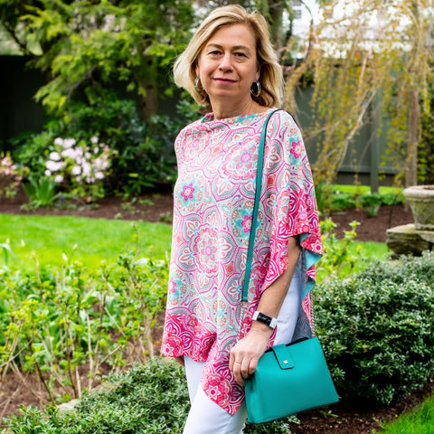 two bs accessories whimsy rOSE Mandala geo ponchoThis colorful poncho dresses up any outfit in summer. Elegant pattern  add an extra detail. Easily fold in a bag or luggage for convenience and doesn't wrinkle. 95% Polyester, 5% Spandex Cold water wash. Made in America