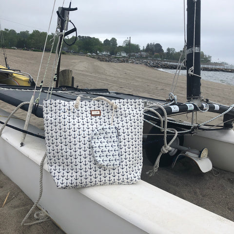Nautical Anchors Away Gap Tote with Matching Pouch