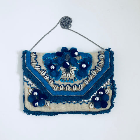 Hand Embroidered Jute and Cotton Clutch by Roller Rabbit by two b's accessories