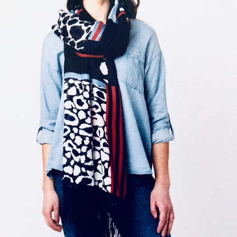Pia Rossini Patriotic Color Scarf with animal print pattern.
