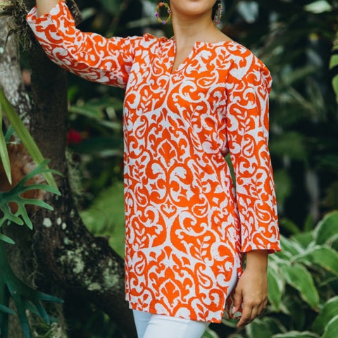 Orange Paisley Cotton Tunic