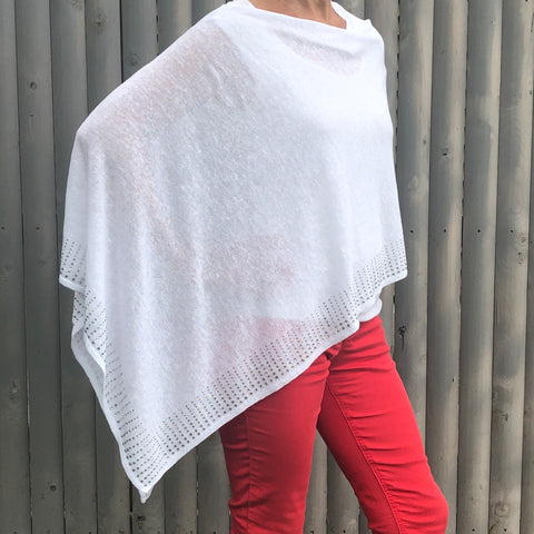 White Linen Poncho with  Strass Chrystal Beads Border