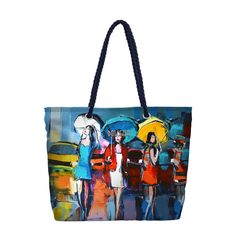 "Fun Pattern Tote  by Dolcezza. The bag is durable, has a full zip closure and rope handles. Good for traveling and/or the Beach.  Canvas Fabric  13""H x  18""W  X 5 "" D"